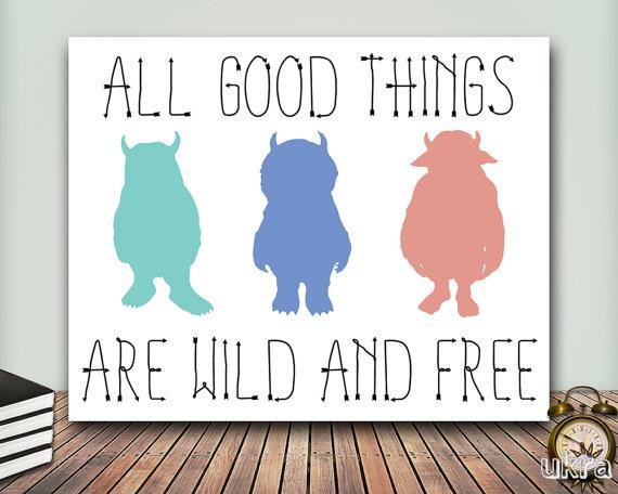 Where the wild things are printable, nursery artwork