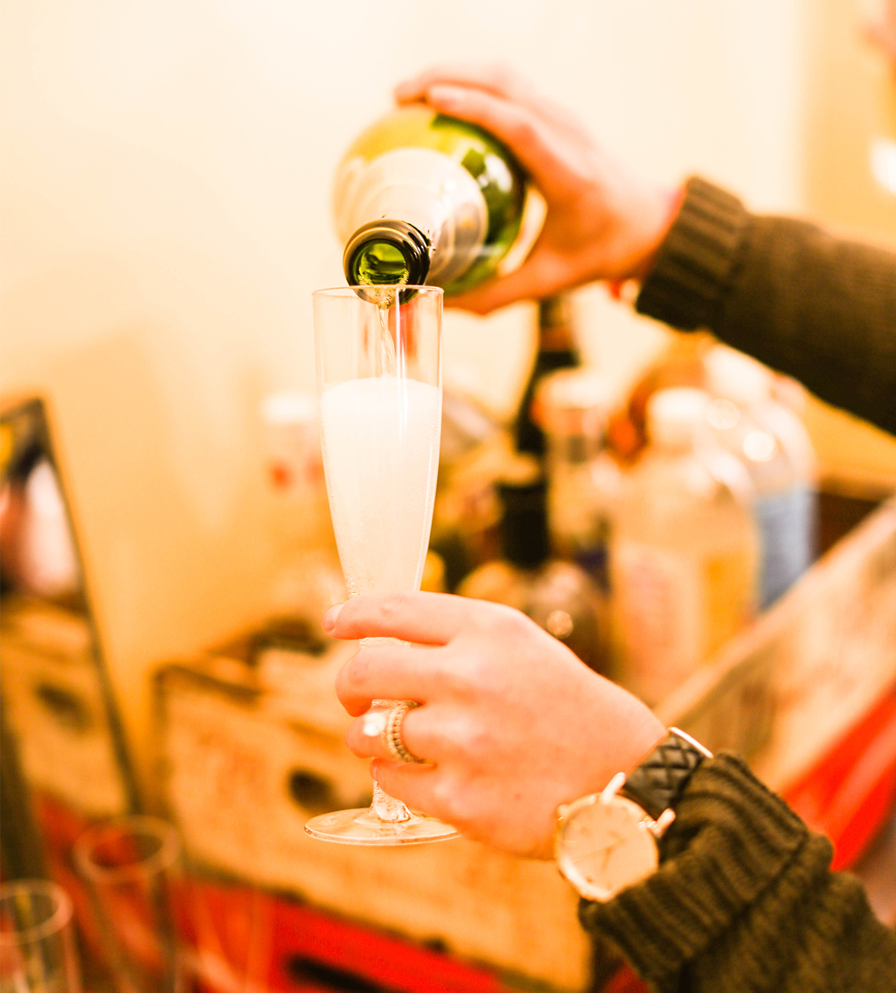 Champagne for gender reveal party
