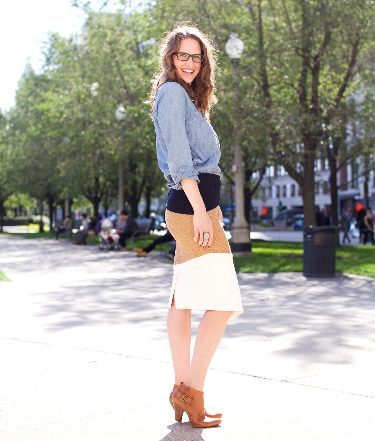 Anthropologie skirt_Top US Fashion Bloggers_Chicago Fashion Bloggers_How to style chambray-16