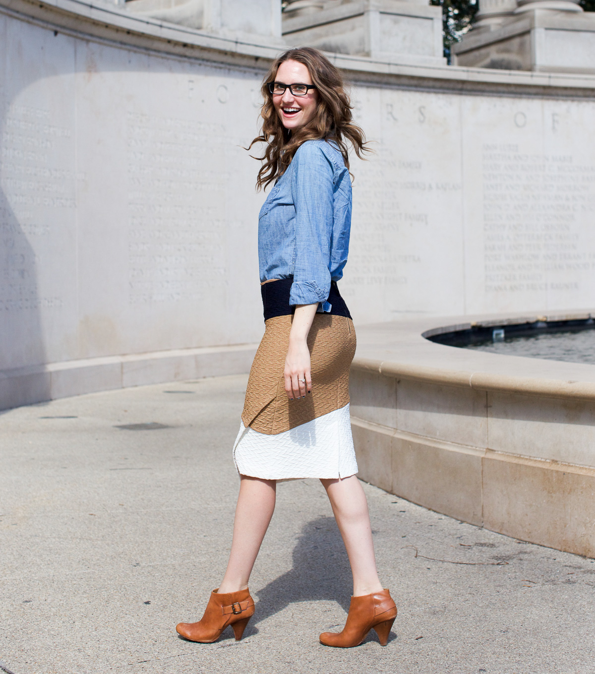Anthropologie skirt_Top US Fashion Bloggers_Chicago Fashion Bloggers_How to style chambray-2