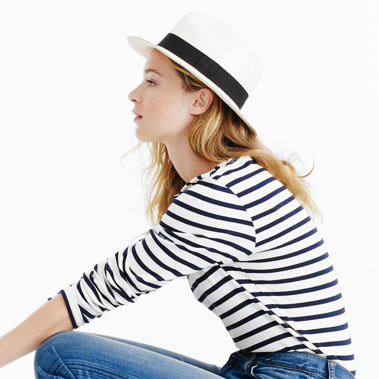 JCrew Panama Hat and JCrew Striped Shirt