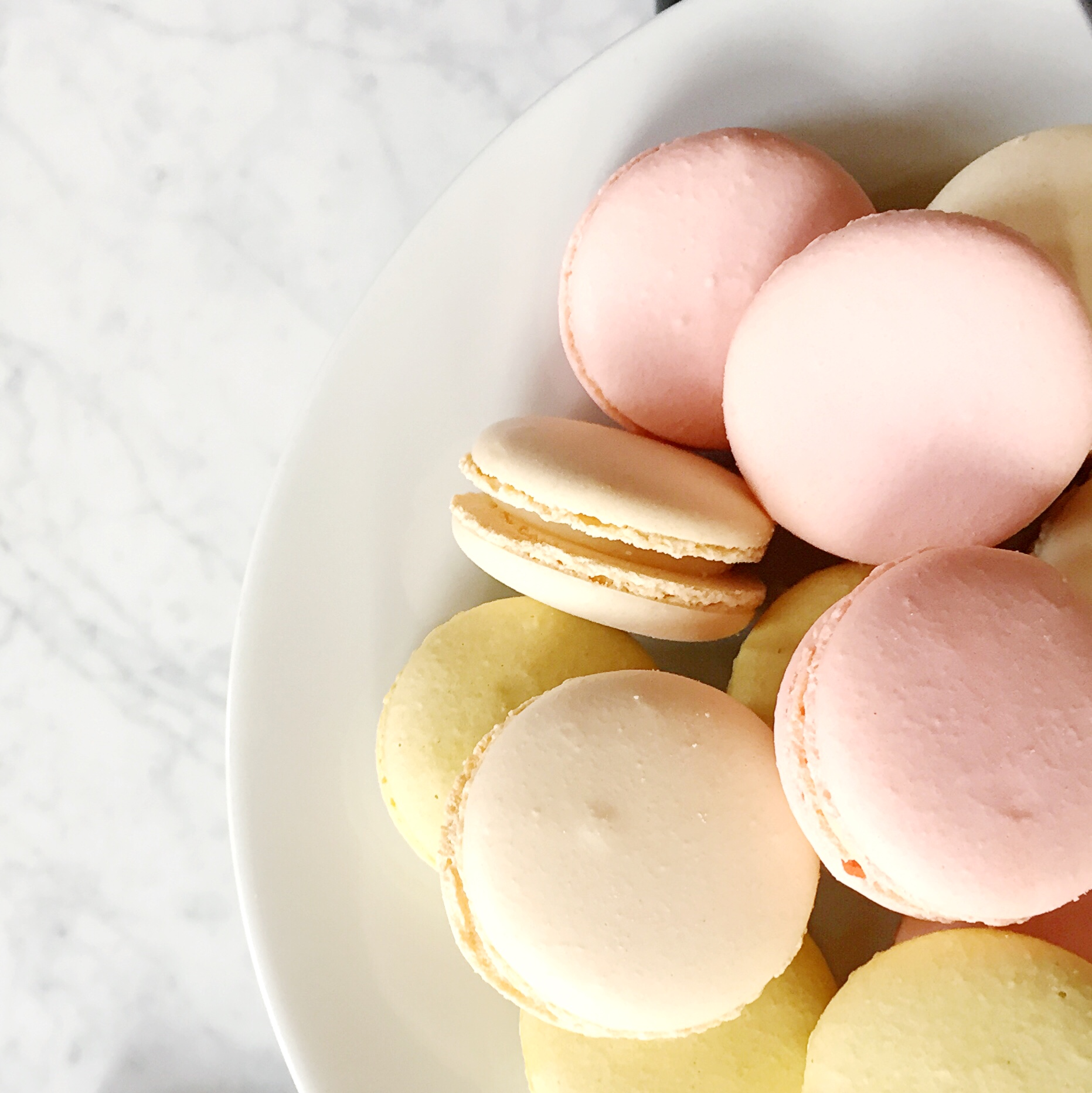 Colorful macarons on a plate