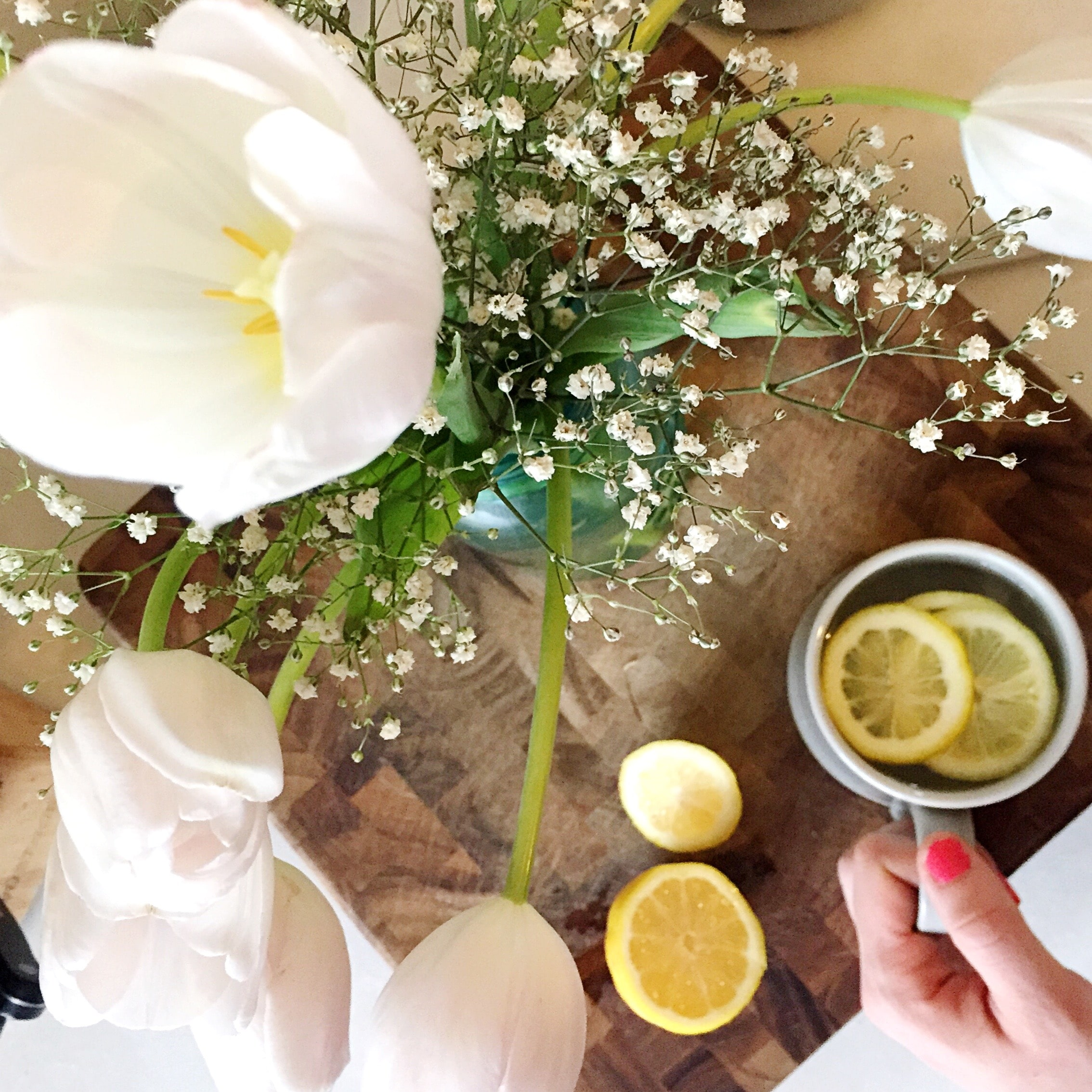 Lemon water and flowers