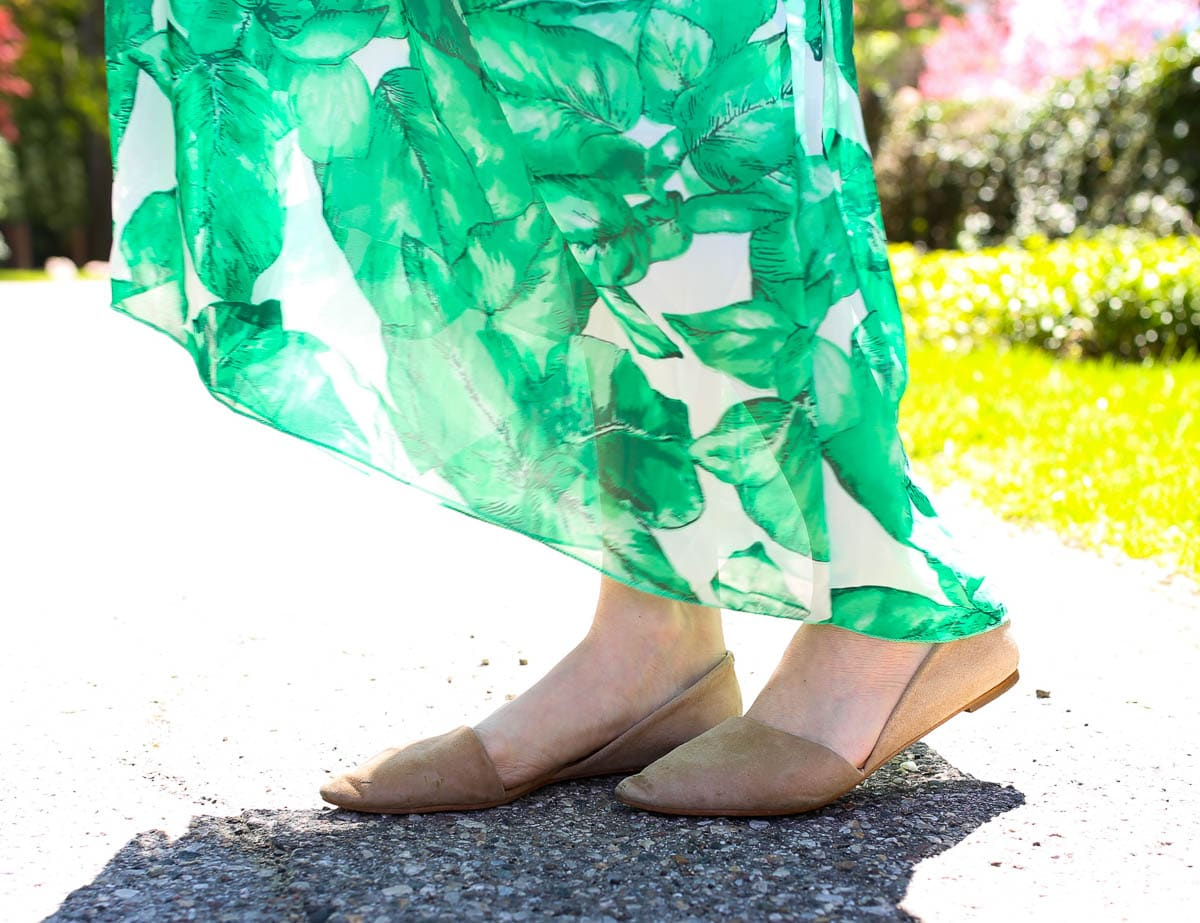 Palm Print Maxi Dress and Nude Flats