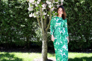 Palm Leaf Print Maxi Dress
