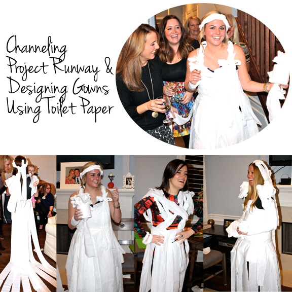the night was filled with delicious appetizers handmade decor great conversations toilet paper wedding dresses so much fun and of course