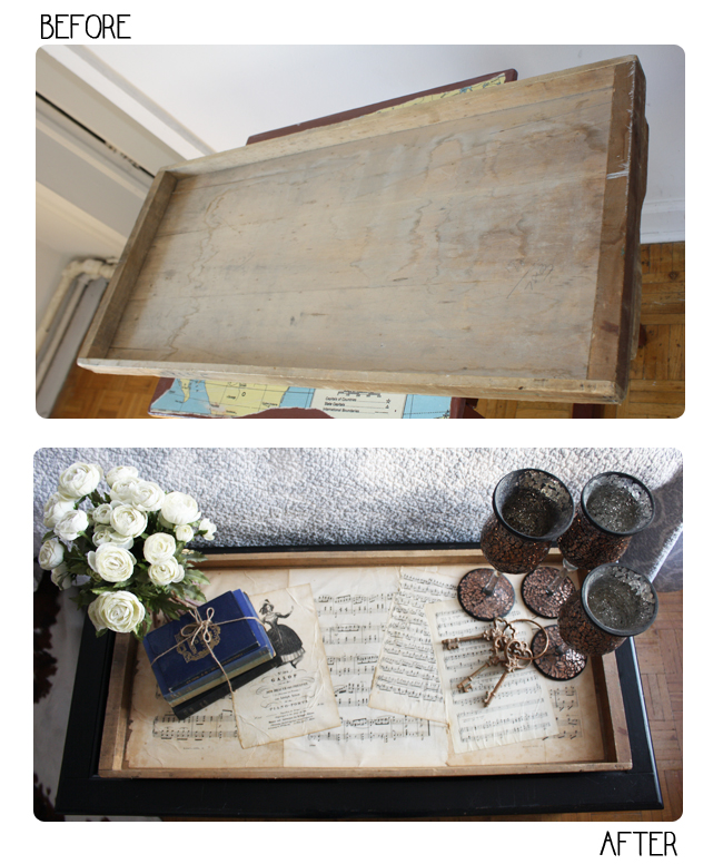 diy wooden coffee table tray isn 39 t that charming. Black Bedroom Furniture Sets. Home Design Ideas