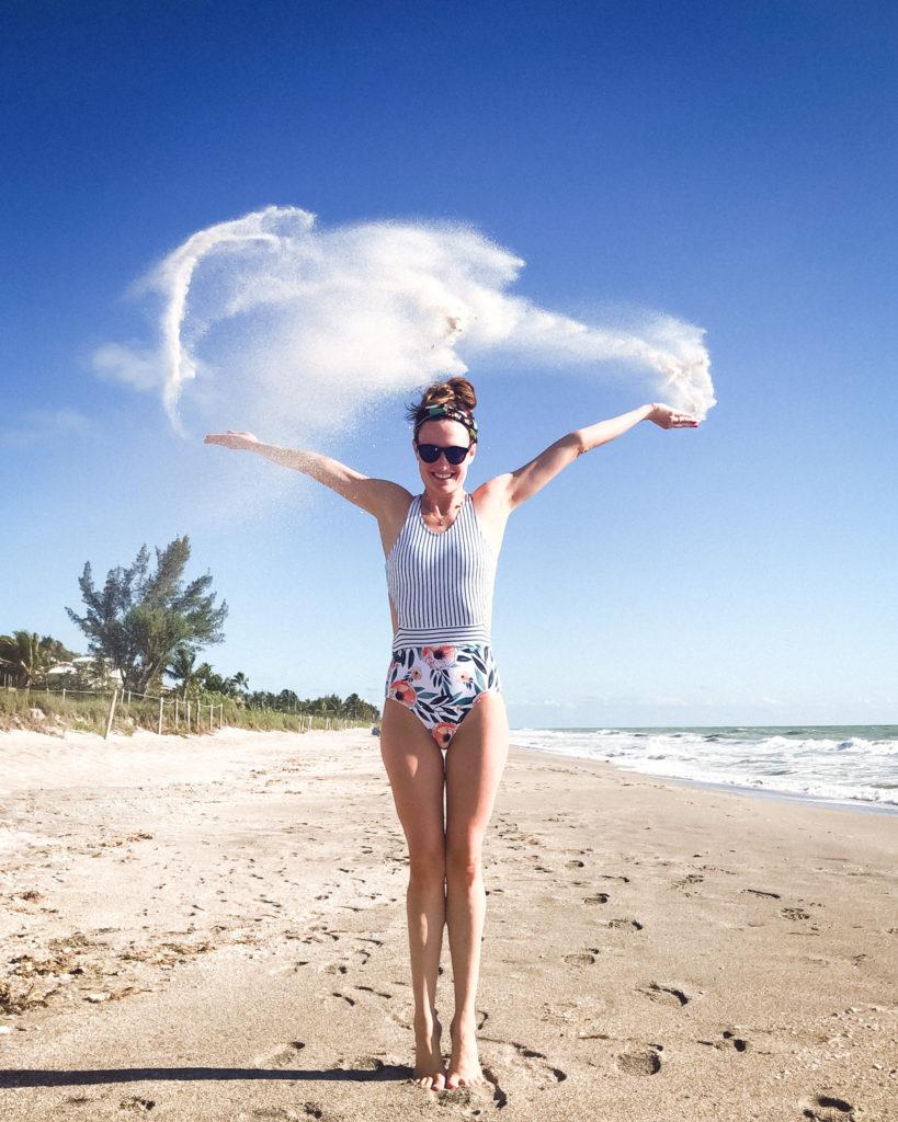 Amazon Fashion, cute one piece swimsuit, mixing prints
