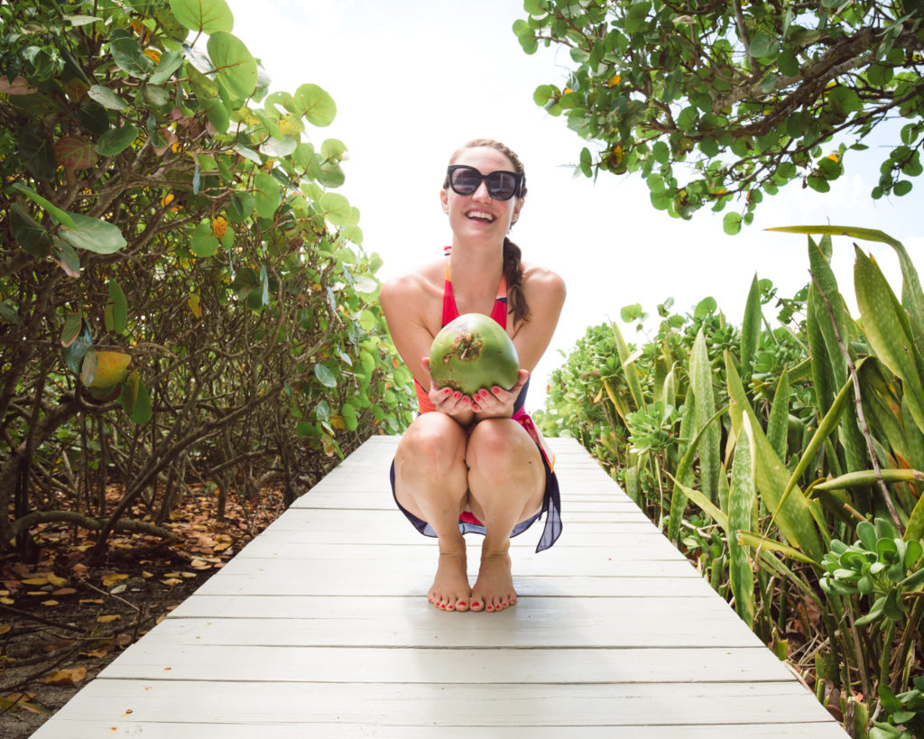 Coconut on the beach, Instagrammable beach photo, Hermoza Swimsuits